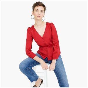 JCrew Red Long sleeve peplum satin-crepe blouse 12